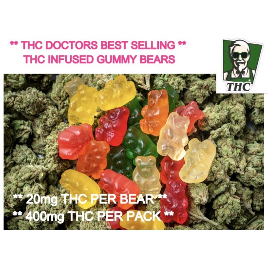 Gummy Bears, Pack of 20 Infused With THC, 20mg THC In Each Bear, 400mg per pack.
