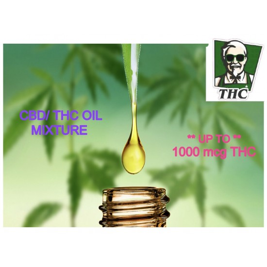 Full Spectrum CBD Oil (1000mcg) Mixed with THC Distillate (1000mcg), 10ml Bottle