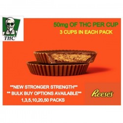 Reese Cups, Pack of 3 - 50mg THC In Each Cup.